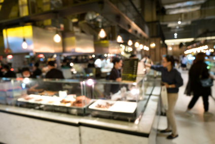 Abstract blur beautiful luxury food court in shopping mall and retail store interior for background